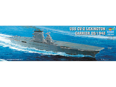 USS Lexington CV2 Aircraft Carrier Plastic Model Military Ship 1/350 Scale